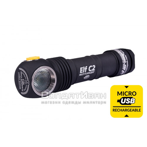 Фонарь налобный Elf C2 Micro-USB + 18650 Li-Ion Warm Light | ArmyTek фото 1